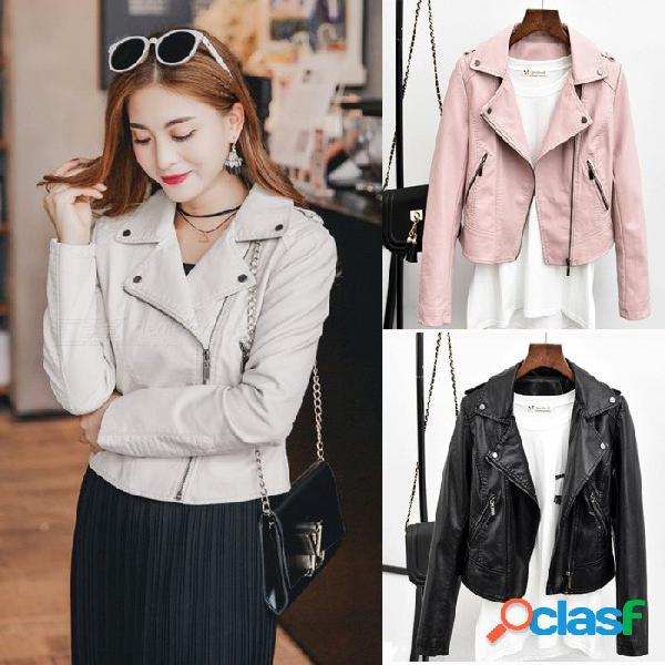 Nueva primavera otoño mujer moto cremallera color sólido delgado abrigos pu chaquetas de cuero con bolsillos beige / s
