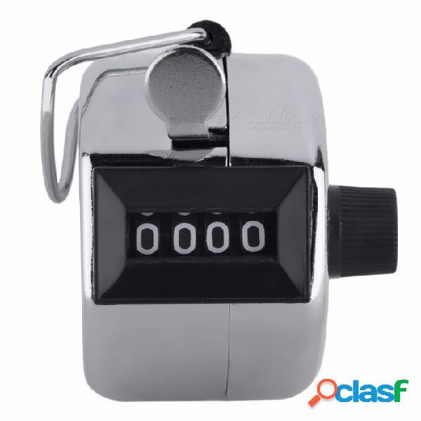 Número de 4 dígitos clicker golf digital cromado contador de manos contador de pasos podómetro - plata