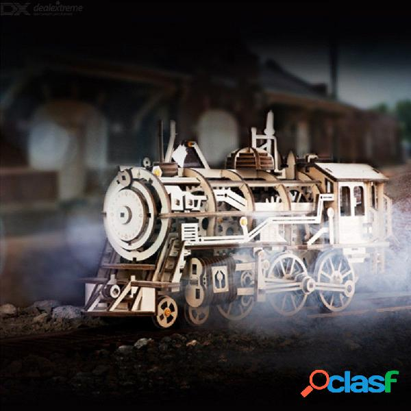 12 x 37.5 x 18.5 cm creativo juego de rompecabezas 3d tren educativo diy kit de arte del vehículo de madera