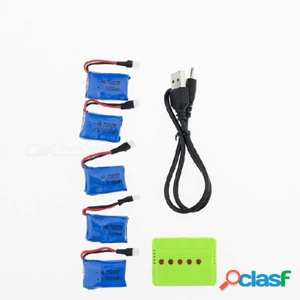 5 unids 3.7 v 200 mah li-po batería con 5 en 1 cargador para hubsan h107 h107c syma x5c jjrc h8 mini