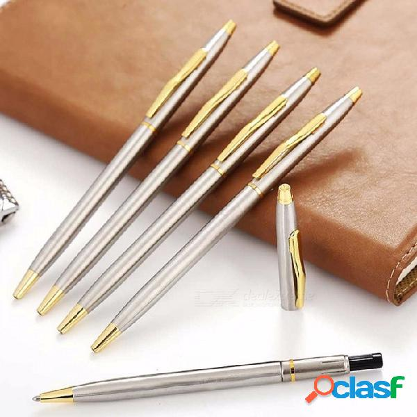 Bolígrafo de metal giratorio de varilla de acero inoxidable, papel de oficina de bolígrafo de 0,7 mm, útiles escolares negro / gris claro