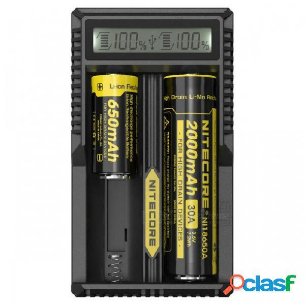 Cargador inteligente nitecore um20 con pantalla lcd de alta definición para 18650 18490 18350 10440 batterie - negro