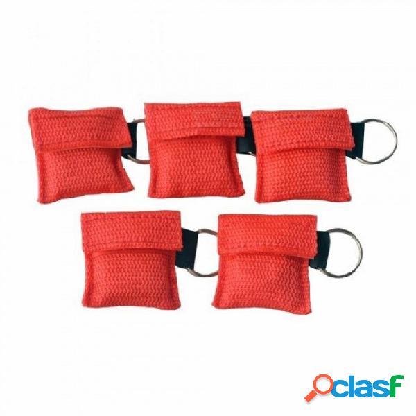 10 unids / lote rcp máscara de reanimación rcp escudo facial para cpr / aed emergencia kit de rescate para el cuidado de la salud de color rojo 10 unids / lote