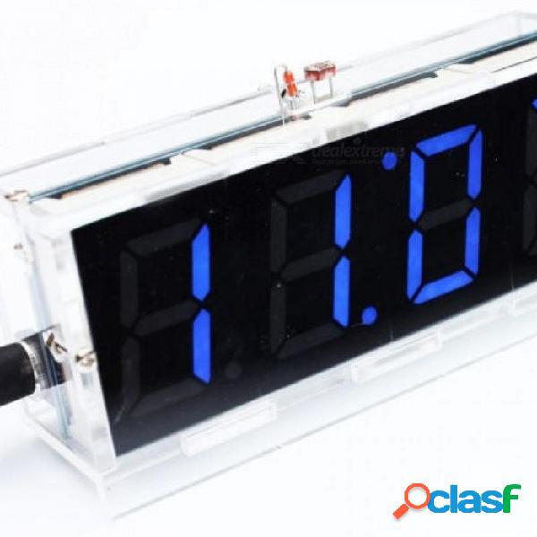 Azul led electrónico reloj digital reloj termómetro microcontrolador reloj digital kit de bricolaje con tutorial azul