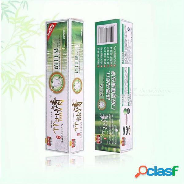 Bambú sal blanqueamiento pasta de dientes anti sangrado de las encías removedor de placa dental anti-halitosis vaya humo manchas mal aliento 120g