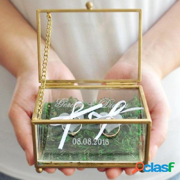 Caja del portador del anillo de bodas, caja del anillo geométrica, caja grabada del anillo de bodas, almohada del portador del anillo de la caja de joyería para decoraciones de bodas