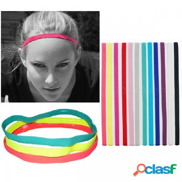 Deportes al aire libre que se ejecutan en forma de yoga yoga diadema elástica antideslizante color caramelo bandas para la cabeza reflectantes blanco
