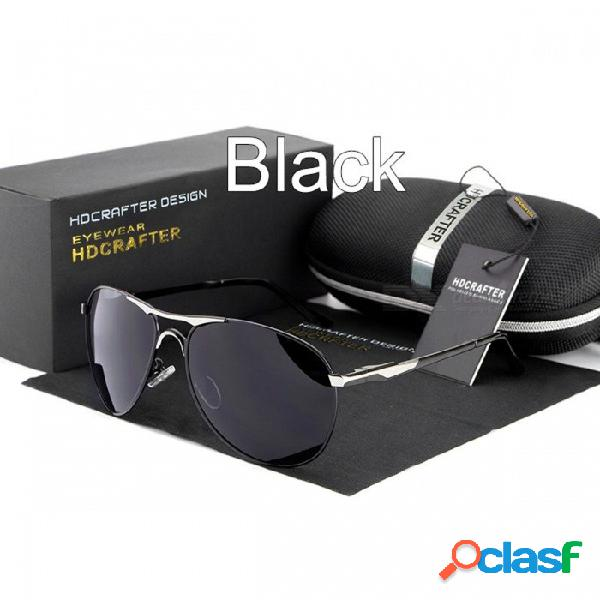 Gafas de sol geniales hdcrafter de la marca de alta calidad, gafas de protección polarizadas 100% uv400 para hombres de color negro