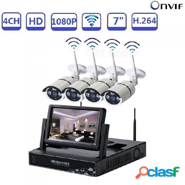 Strongshine cctv 7quot lcd 4ch nvr kit con 4pcs 1080p wi-fi cámaras ip para exteriores, kits de sistema de seguridad