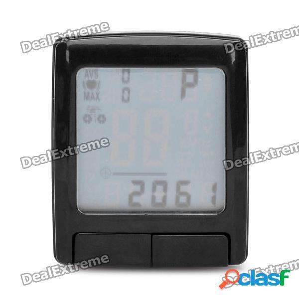 """1.5 """"LCD cycling computer w / monitor de frecuencia cardíaca / velocímetro / reloj / termómetro (1 x CR2032)"""