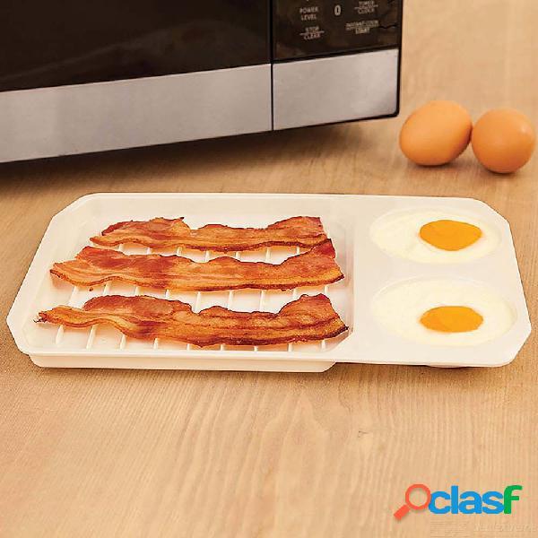 2 en 1 cocina microondas tocino bandeja de huevos molde para hornear para desayuno cocina utensilios para hornear utensilios de cocina
