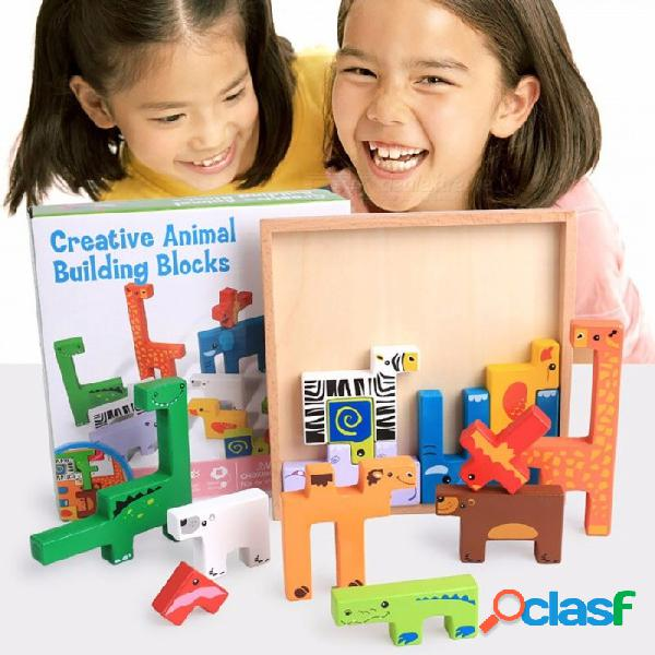 Animales bloques de construcción rompecabezas rompecabezas montessori tablero de la tarjeta de dibujos animados creativo bloque 3d niños educativo colorido juguete multicolor
