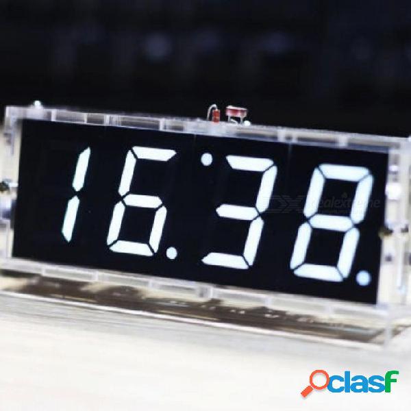 Color blanco led reloj electrónico microcontrolador reloj digital termómetro de tiempo kit de bricolaje con pdf tutorial negro