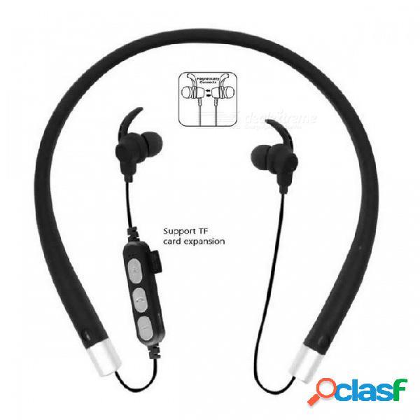 Cwxuan bluetooth v4.2 auriculares estéreo, auriculares con banda para el cuello con micrófono, ranura tf para teléfonos celulares - negro