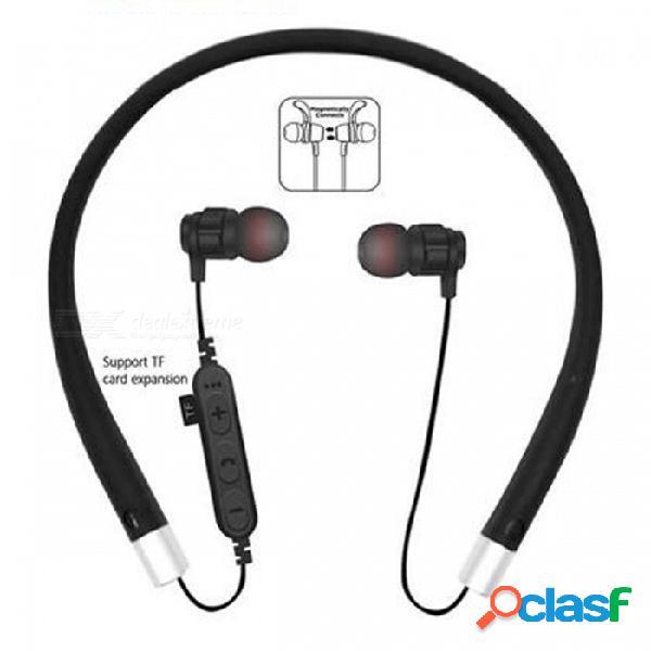 Cwxuan ms-t11 bluetooth v4.2 auriculares estéreo, auriculares con banda para el cuello con micrófono, ranura tf para teléfonos celulares - negro