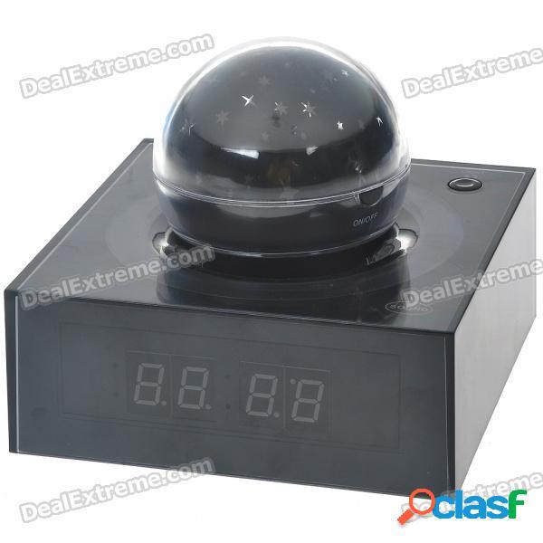 """Termómetro digital de alarma lcd de 4.0"""" con estrellas proyectadas de 7 colores / sonidos de la naturaleza (3 * aaa / 3 * aaa)"""