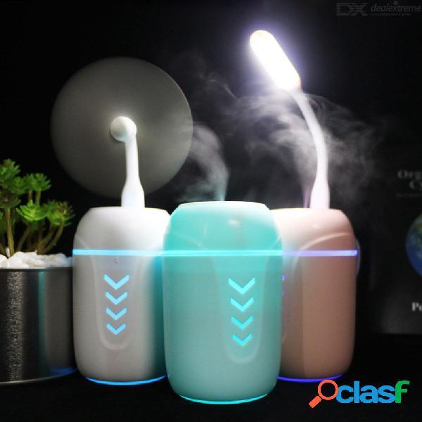 Usb en casa 3 en 1 humidificador de vapor frío vapor purificador de aire en la cara + luz nocturna led + ventilador usb + hisopo de algodón absorbente
