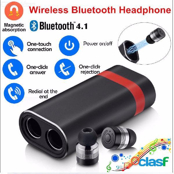 Auriculares bluetooth inalámbricos verdaderos auriculares estéreo in-ear con micrófono bluetooth v 4.1 + edr - negro + rojo