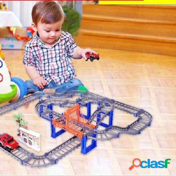 Carreras eléctricas coche de tren niños tren modelo de tren juguete bebé vía férrea carreras transporte por carretera construcción de juegos de tragamonedas 2 colores gris con 1 coche