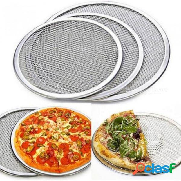 De aluminio de malla plana pantalla de pizza horno para hornear bandeja neta utensilios de cocina utensilios de cocina con color plateado de tamaño múltiple opcional 6 pulgadas