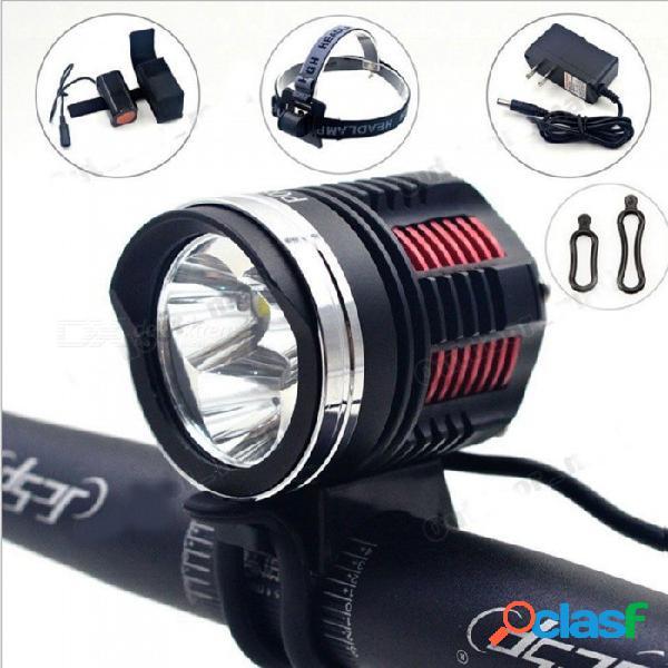 Luz de bicicleta de montaña zhaoyao l2 3-led súper brillante linterna + batería + adaptador de enchufe de ee. uu. / ue