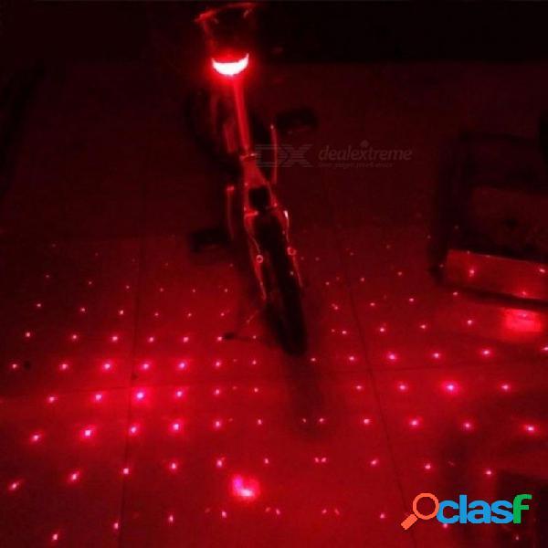 Ruede para arriba 5 led 2 laser que completa un ciclo la luz de la bici de la bicicleta 7 modo de destello que advierte el carril de la viga impermeable de la luz de la luz posterior de la co