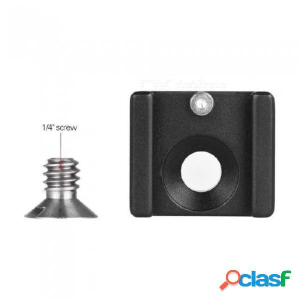 Soporte de adaptador de montaje en zapata fría soporte con tornillo de montaje de 1/4 & quot para cámara de cámara dslr flash micrófono de luz led (paquete de 1) negro