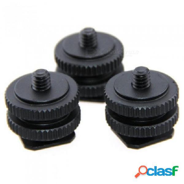 """Soporte de montaje en zapata fría de 1/4 """"para monitor de micrófono con luz de video para cámara dslr (paquete de 3) con color negro y negro"""
