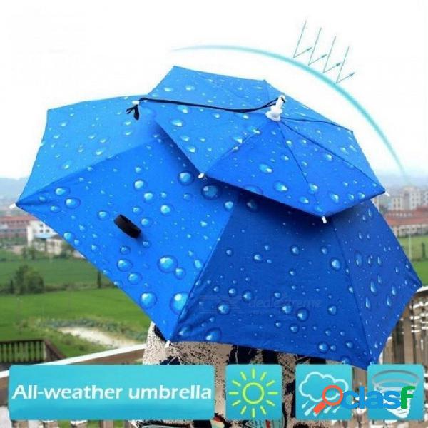 Sombrero de paraguas de pesca de doble capa al aire libre grande de doble capa camping playa sombrilla soleado lluvioso anti-uv tapa para hombres mujeres niños m / azul