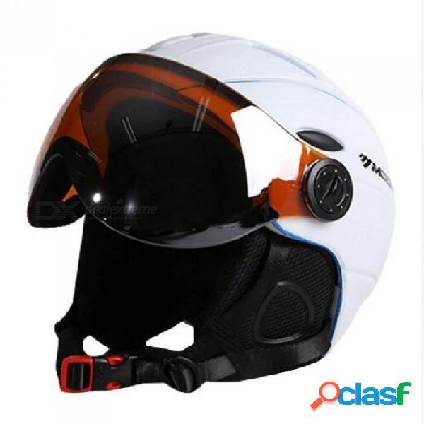 Casco de esquí moldeado integralmente pc + eps certificado ce adulto casco de esquí deportes al aire libre snowboard / monopatín casco l / blanco