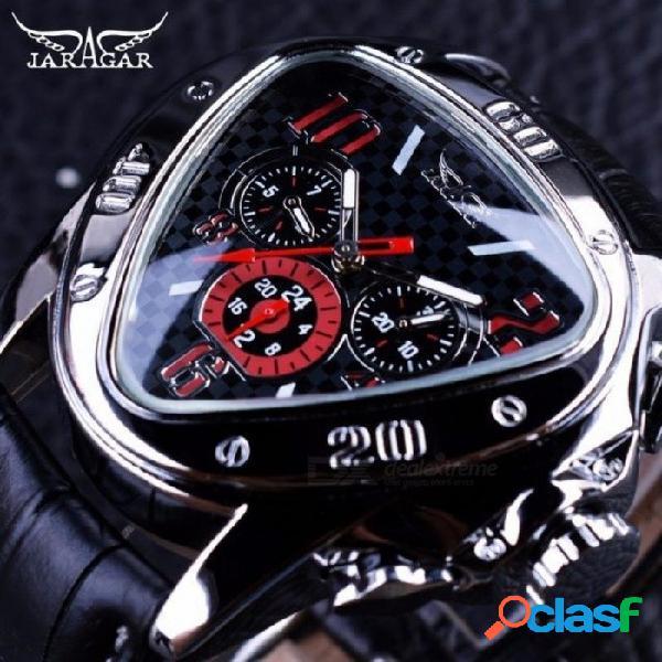Diseño de carreras deportivas diseño triángulo geométrico correa de cuero genuino relojes para hombre marca de lujo reloj de pulsera automático negro de oro