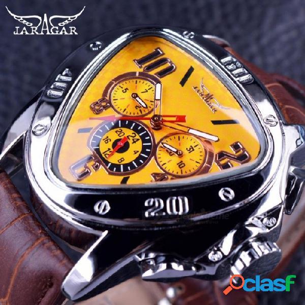 Diseño de moda deportivo caja triangular geométrica correa de cuero marrón 3 dial reloj de los hombres reloj de marca superior de lujo automático reloj negro