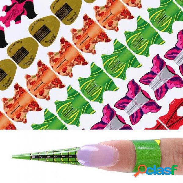 Forma de uñas adhesiva para la extensión de uñas de gel uv flor cometa oval forma cuadrada herramienta del arte del clavo diy consejos kits de manicura 100 unids # 4