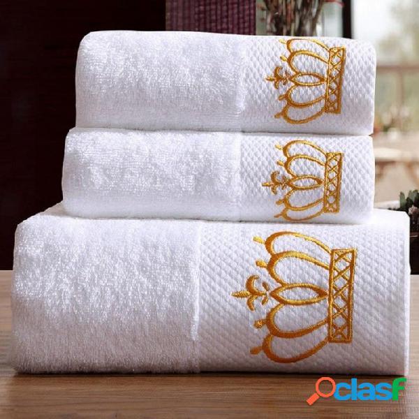 Hotel de 5 estrellas bordado de lujo juego de toallas de baño blanco 100% algodón toalla de playa grande marca absorbente de secado rápido toalla de baño 3 unids juego de toallas de baño / co