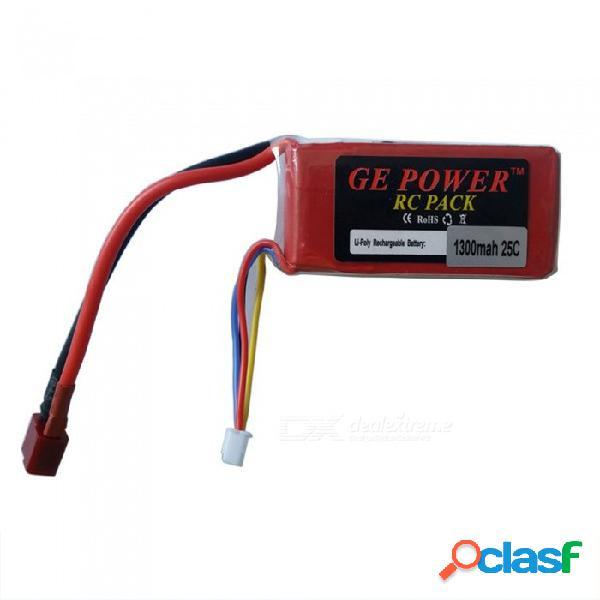 Oriainal ge power 11.1v 1300mah 25c t plug lipo batería 3s para helicóptero de avión rc coche - rojo