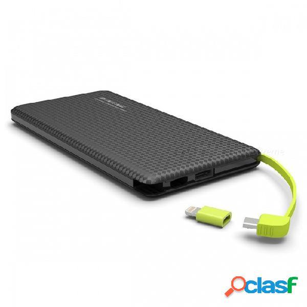 Ugreen delgado portátil delgado delgado usb 10000mah banco de la energía externa batería de la batería con cable de carga para teléfonos móviles negro