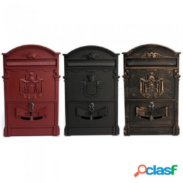 Buzón retro casas de correos buzón europeo cajas de periódico de pared exterior con cerradura buzón seguro 41x25x8cm jardín decoración del hogar rojo
