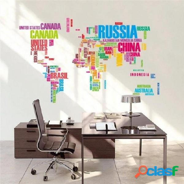 Mapa del mundo grande pegatinas de pared original zooyoo95ab letras creativas mapa arte de la pared dormitorio decoración para el hogar calcomanías de pared negro