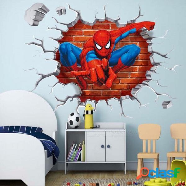 50 * 50 cm caliente 3d agujero película de dibujos animados spiderman pegatinas de pared para niños habitaciones regalos de los niños a través de la etiqueta de la pared multi