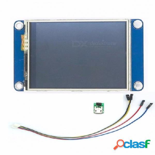 "Aihasd english nextion 2.4 ""pantalla táctil resistiva tft 320 x 240 uart hmi pantalla elegante raspberry pi lcd módulo para arduino azul"