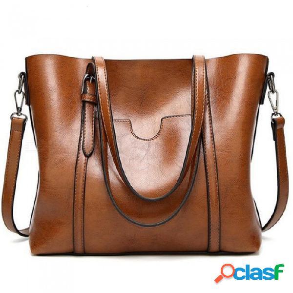 Bolso de las mujeres de cera de aceite bolsos de cuero de las mujeres de lujo de señora bolsos de mano con monedero bolso de mensajero de las mujeres bolsa de asas grande bolsos mujer