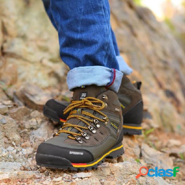 Ctsmart 8037 zapatos de senderismo al aire libre de alto rendimiento para hombres de color sólido multifuncional - de color caqui (40 #)