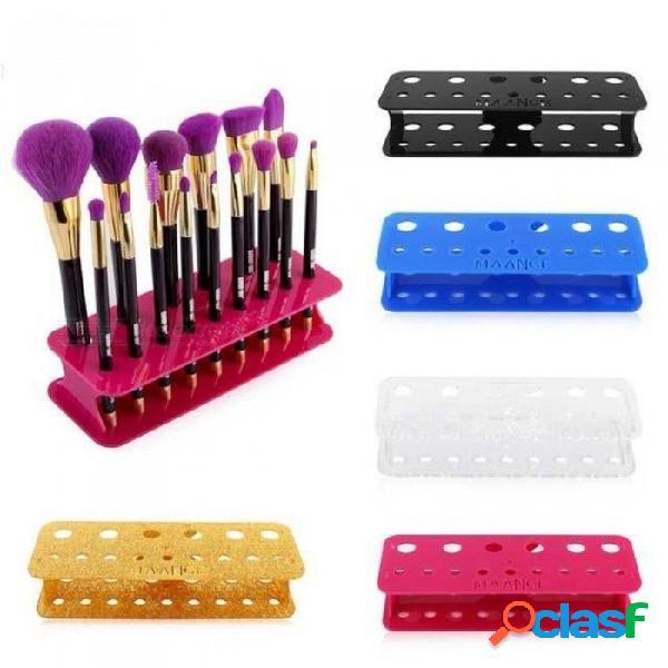 15 hoyos cuadrados pro titular de cepillo de secado organizador de secado organizador cosmético estante herramientas fundación rubor cepillo estante negro
