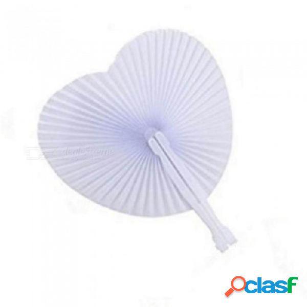 5 unids romántica forma de corazón aniversario de boda de mano plegable abanico de papel regalos del partido corazón blanco en blanco abanico plegable de papel 5 unids