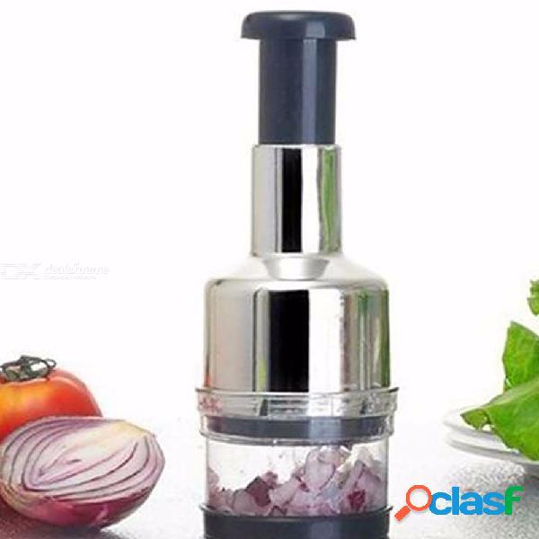 Acero inoxidable presión manual ajo picador cebolla cortador multifunción vegetal herramienta de cocina plata
