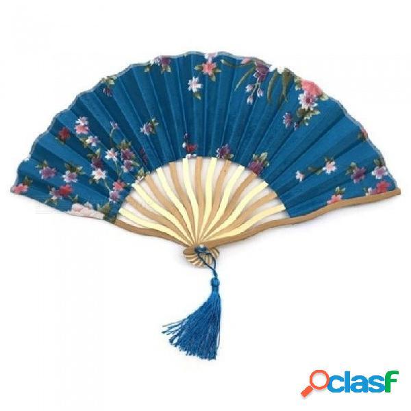 Baile Decoración De La Fiesta De Bodas Abanico Chino Japonés Flores De Flores Abanico Tallado Mano Abanico Con Borla Para Regalo Azul