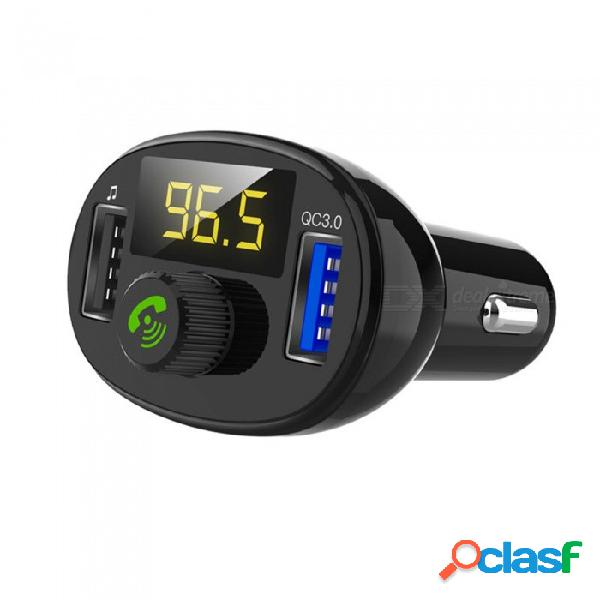 Bt23 car mp3 audio player bluetooth car kit fm transmitter handsfree calling qc3.0 dual usb car charger phone charger