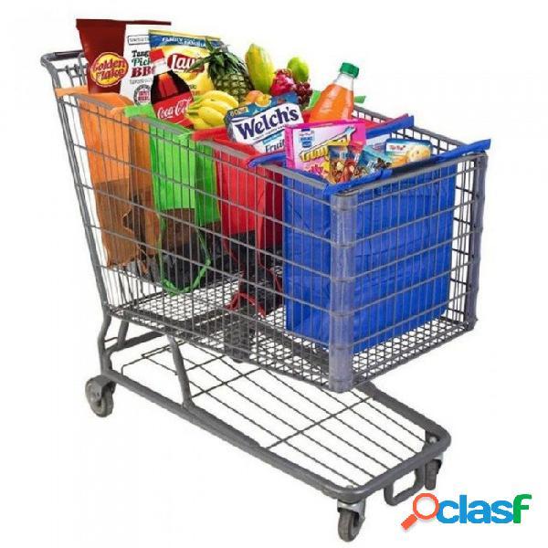 Carro de compras bolso de la carretilla bolso de compras reutilizable plegable del eco bolso del supermercado bolso fácil de usar y pesado de las bolsas 4pcs / set con un bolso más fresco