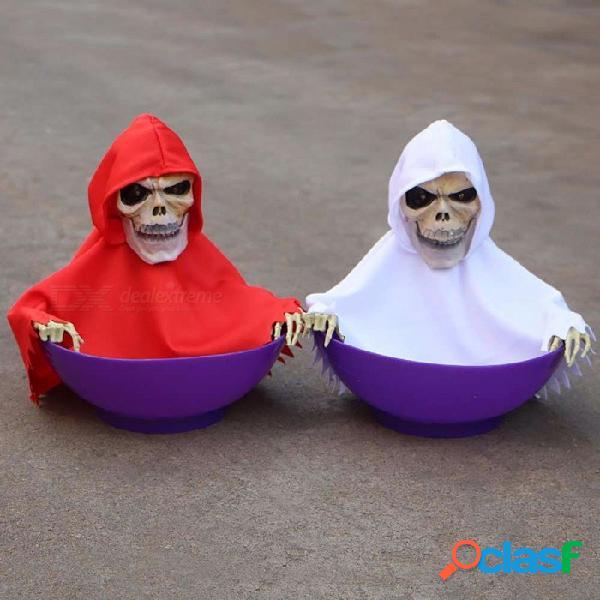 Control táctil y control de voz plato de dulces del cráneo decoración de halloween apoyo para casa y bar encantados color aleatorio rojo