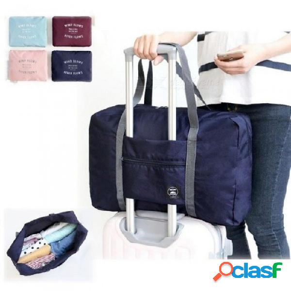 Equipaje de viaje de gran capacidad ocasional / viaje de hombro bolsa grande de viaje bolsa de almacenamiento de ropa plegable organizador rosa